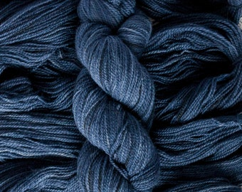 "Hand Dyed Yarn ""Midnight"" Dark Blue BFL/Masham blend (75/25) fingering weight 400 yards 100 grams 2 ply non-superwash"