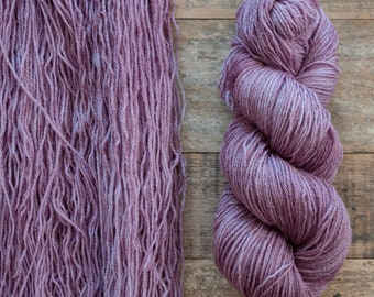 Mohair Wool blend fingering weight sock yarn, 405 yards per skein, non-superwash, synthetic free, mauve with tonal variations, Plum Tart