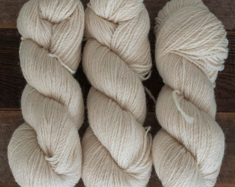 Undyed natural white 100% Romney DK yarn - 250 yards/100 grams, woolen spun, non-superwash, 2 ply, raised and milled in Canada