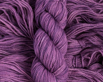 "Hand Dyed Yarn ""Callicarpa"" rich purple 100% merino wool yarn, bulky weight, 105 yards, 100 grams, 2 ply, non-superwash"