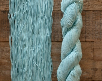 Hand dyed Bamboo Cotton blend DK weight yarn, 270 yards per 100 grams, milled in Italy, light blue