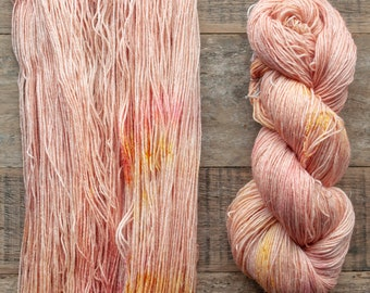 Hand dyed Wool hemp blend sock yarn, fingering weight, 4 ply, nylon free, superwash, 435 yards per 100 grams, Nectarine, peach with speckles