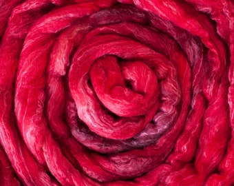 Hand Dyed BFL/Silk blend Top spining fibre, shades of red, 120 grams, sourced from the UK, non-superwash