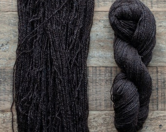 Undyed natural dark brown Romney wool yarn, sport weight, 325 yards per 100 grams, 2 ply, Canadian grown and spun, non-superwash, Waffle