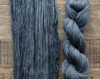 Hand dyed Wool hemp blend sock yarn, fingering weight, 4 ply, nylon free, superwash, 435 yards per 100 grams, Dark Matter, medium dark grey