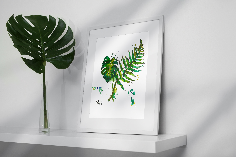 Tropical Leaves Art Print Botanical Watercolour Home Decor
