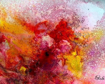 ABSTRACT Painting PRINT, Pink Yellow Abstract Art, Abstract Mixed Media Painting, Abstract Watercolor, Home Decor, Home Interiors, Wall Art