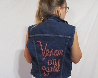Reworked Vintage Embroidered Back Denim Vest