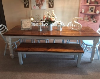 c8ec865e247ca 8 Foot Farm Table Handmade Dining Table With 2 Benches