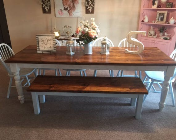 8 Foot Farm Table Handmade Dining Table With 2 Benches Etsy