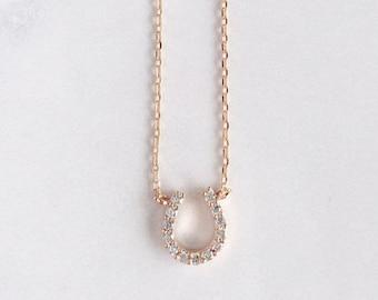 Horseshoe Charm Necklace - Delicate Horseshoe Pendant Necklace - Rose Gold Filled Necklace - Good Luck Gift - Wedding gift - Graduation Gift