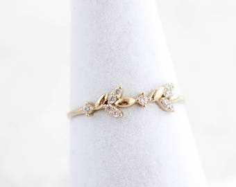 NEW* Crystal Leaf Ring, Layering Ring, Dainty Ring,  Thin Ring, stackable ring, Statement ring, stacking ring, Trendy ring