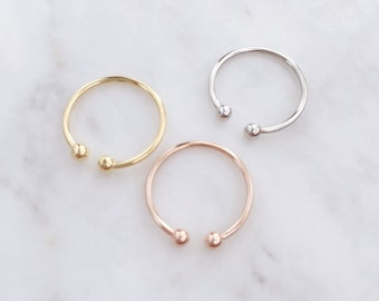 Parallel Ball Midi Ring, Ball Knuckle Ring Set, Ball Silver Ring Set,  Ball Pinky Ring, Toe Ring, Boho Rings, For Her, Minimalist