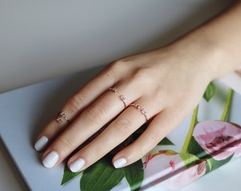 SALE* Parallel Crystal Ring, Minimalist ring, Baguette ring, stackable ring, adjustable ring, thin gold ring, stacking ring, dainty ring.