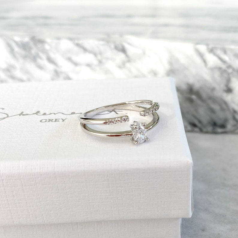 For Her Delicate Gift for Girlfriend Wife Women rings for women Teardrop Crystal Dainty ring Double Ring NEW* Nelli Ring