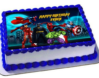 Superheroes Edible Cake Topper Birthday CakeFrosting SheetSuperheroes Party
