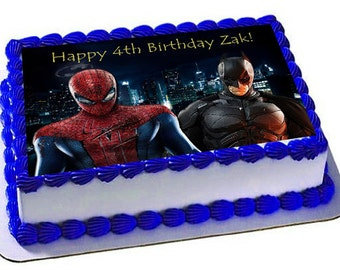 Spiderman Vs Batman Edible Cake Topperfrosting Sheetsuperheroes Birthday Topperedible Images