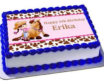 Cowgirl Edible Cake Topper, Cowgirl Birthday Party, Edible Images, Cowgirl Cupcake Topper