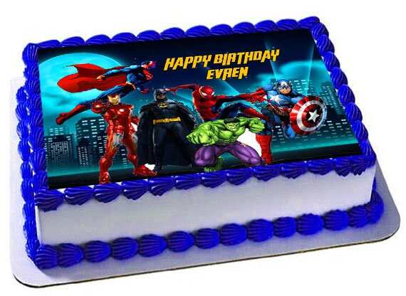 Superheroes Edible Cake Topper Superheroes Birthday Etsy