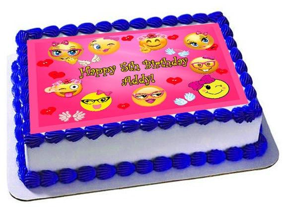 Emoji Edible Cake Topper Party Picture