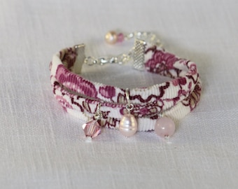 Liberty Fabric Bracelet, Pink - with Swarovski crystal, freshwater pearl and rose quartz charms