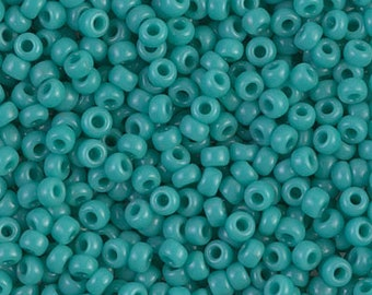 Japanese Seed Beads Miyuki 110 RR-412 Opaque Turquoise Green Green round beads Green Seed Beads Green glass beads