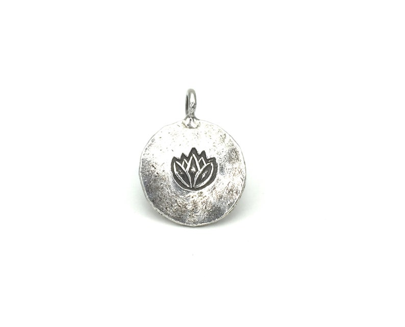 5 Thai Karen Hill Tribe Silver Lotus Charms