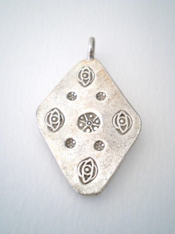 Thai Silver Hand Stamped Pendant Karen Hill Tribe Sundance ...