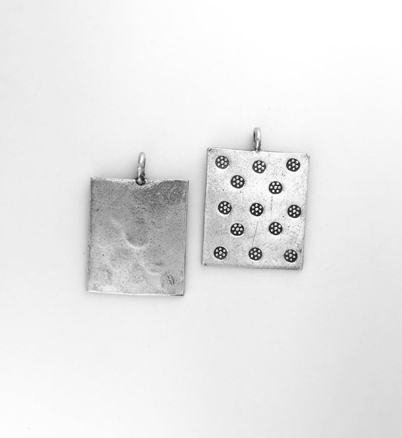 Thai Silver Hand Stamped Pendant Karen Hill Tribe Sundance Style Jewelry Making Supplies Stamped Square Shaped Focal Piece Little Flowers