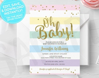 Rainbow Oh Baby Shower Invitation, Editable Template Printable Invite, Rainbow Shower Instant Download, Print Your Own Digital Invites, Gold