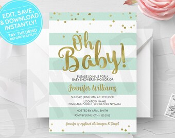 Green Oh Baby Shower Invitation, Editable Template, Printable Invite, Neutral Shower, Instant Download, Print Your Own Digital Invites, Gold