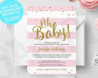 Pink Oh Baby Shower by Mail Invitation, Printable, Girl Virtual Shower, Print Yourself, Print Your Own Long Distance Digital Invites, Gold