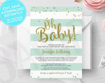 Green Oh Baby Shower by Mail Invitation, Printable, Virtual Shower, Print Yourself, Print Your Own Long Distance Digital Invites, Mint, Gold