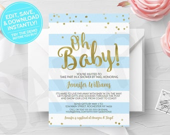Blue Oh Baby Shower by Mail Invitation, Printable, Boy Virtual Shower, Print Yourself, Print Your Own Long Distance Digital Invites, Gold
