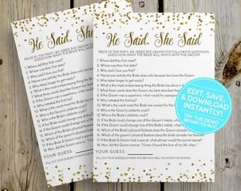 Gold Glitter He Said She Said Bridal Shower Game PRINTABLE + VIRTUAL - Editable Instant Download, Couples Wedding Shower, DIY Digital File
