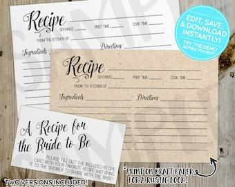 PRINTABLE Classic/Rustic Bridal Shower Recipe Card Template, Editable Instant Download, Digital File, Shower Invitation Enclosure Kraft