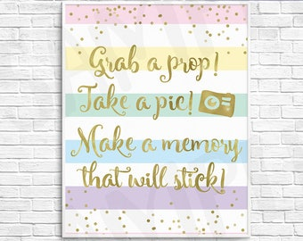 Printable Rainbow Baby Shower Photo Booth Sign, Faux Gold Foil & Pastel Rainbow Stripes - DIY Instant Download Digital File