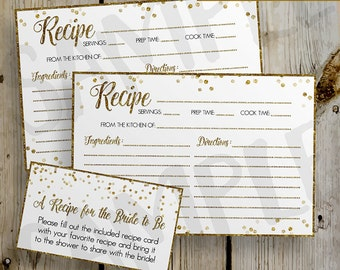 Bridal shower recipe cards etsy printable gold glitter confetti bridal shower recipe card diy instant download recipe card digital file shower invitation enclosure filmwisefo