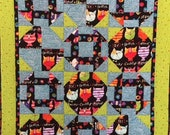 Whimsical Cat Quilt in Bright Colors, Handmade Cat Quilt, Cat Patchwork Quilt, Bright Colorful Handmade Cat Quilt, Small Cat Quilt