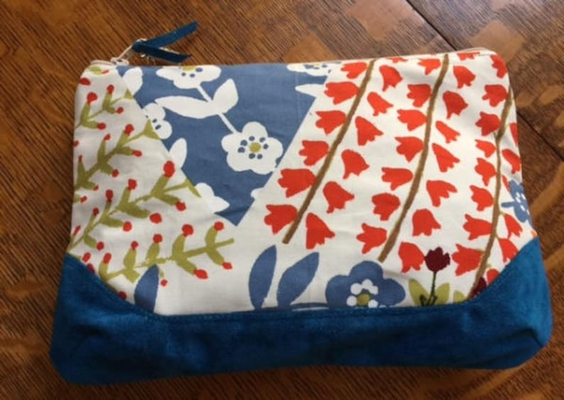 Large Floral Zippered Pouch Handmade Zippered Bag Zippered Pouch with Cotton and Suede
