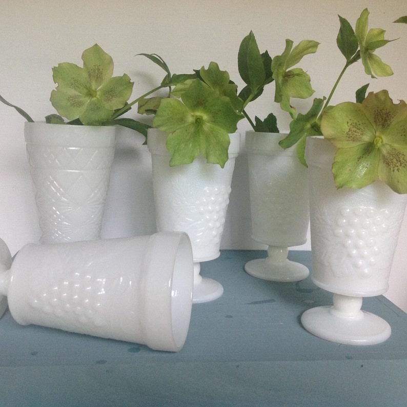 Water Goblets,Pedestal Vases,Vase Vintage Wedding Grape /& Leaf Pattern 1950s Milk Glass Vases Set6 Vintage Milk Glass Wedding Decor
