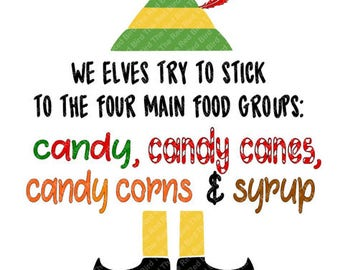 Buddy The Elf Food Groups Candy Candy Canes Candy Corns And Syrup Funny Christmas Digital Download Cut File Svg Png Eps Dxf