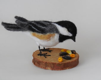 Needle Felted, Life-Sized, Bird, Chickadee, Wool Sculpture, OOAK, Caskey