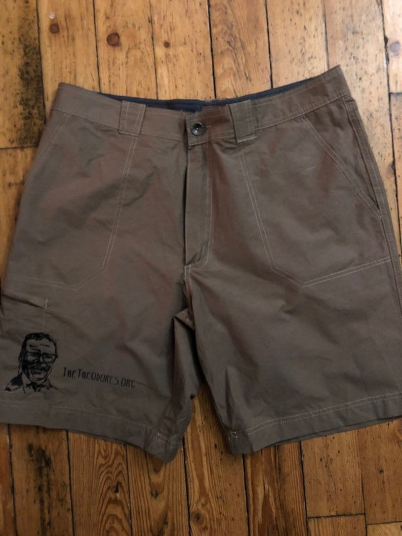 Great Northwest tan brown dress shorts with Teddy screen print #102