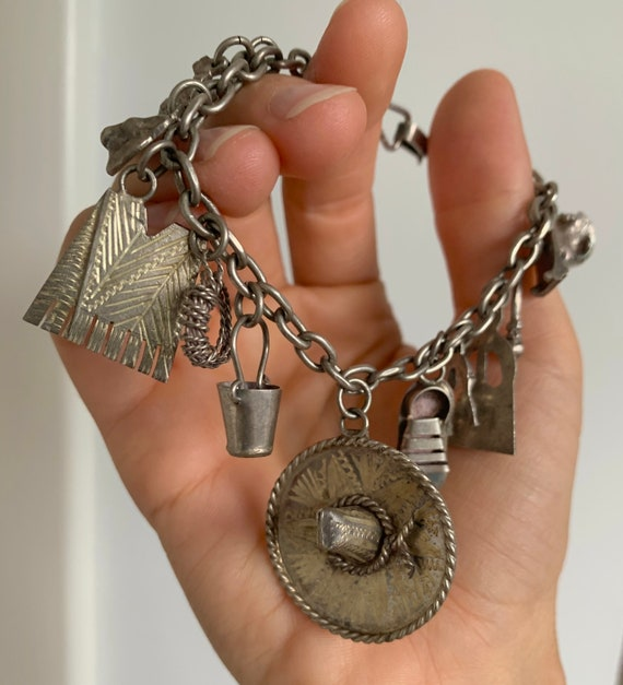 Vintage 1940's Mexican Taxco Silver Charm Bracelet