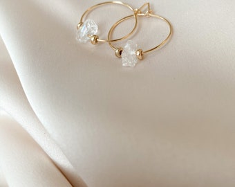 Hoop Earrings with Quartz Crystal Nuggets - 14k Gold Filled