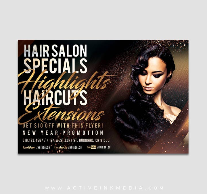 Hair Stylist Flyer Design Hair Salon Hair Extensions Flyer Etsy