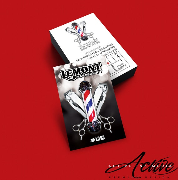 Barber Business Card Design - Barber - Salon - Hair Stylist - Barbershop  Barber pole