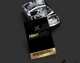Business Card Design - Barber - Salon - Stylist - Hairdresser - Black & Gold