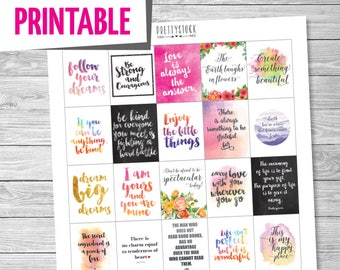 Motivational Quotes Planner Stickers, Printable Planner Stickers, Full Box Stickers, Quotes Planner Stickers, Happy Quotes Stickers - PS236